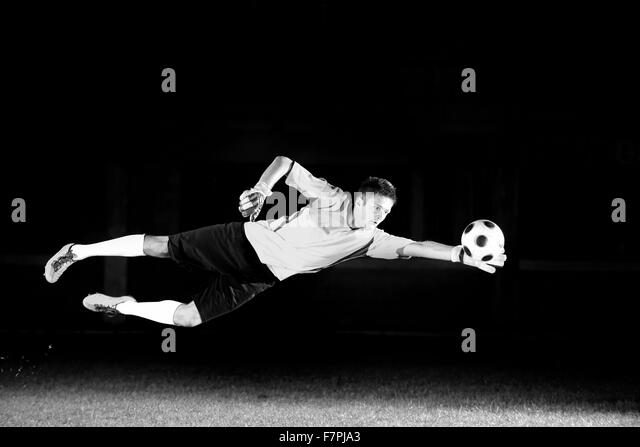 Seamless Vinyl Photography Backdrop Football Stadium Match: Goal Keeper Black And White Stock Photos & Images