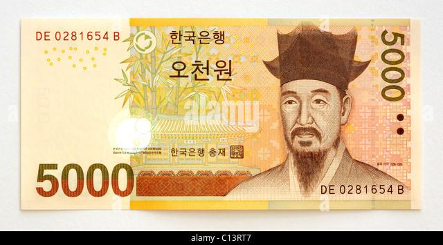 South Korea Five Thousand 5000 Won Bank Note. - Stock Image