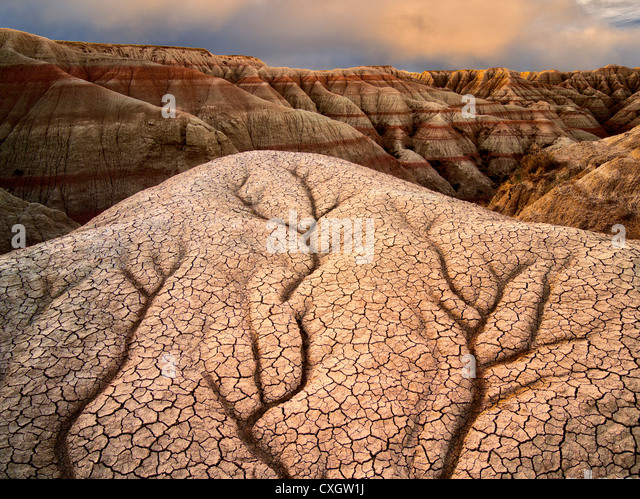 Eroded and cracked rock and mud formations. Badlands National Park. South Dakota formations. - Stock-Bilder