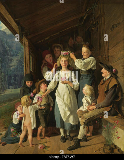 The Bridesmaid. Artist: Waldmüller, Ferdinand Georg (1793-1865) - Stock Image