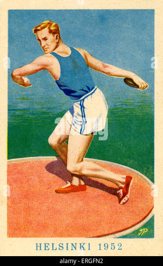 Olympics 1952 Helsinki, Finland. Poster of   Discus throw. - Stock Image