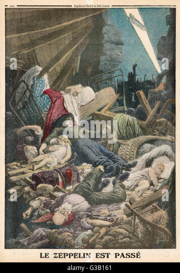 The human cost of the war is  illustrated vividly by this  depiction of the aftermath of  a Zeppelin air raid   - Stock Image