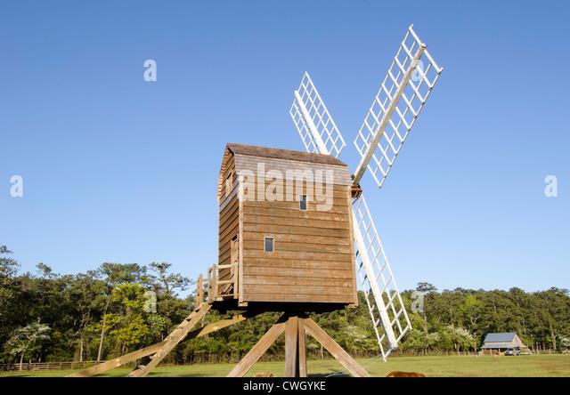 Historic windmill at Island Farm living history museum circa 1847 Manteo, Roanoke Island, North Carolina Outer Banks - Stock Image