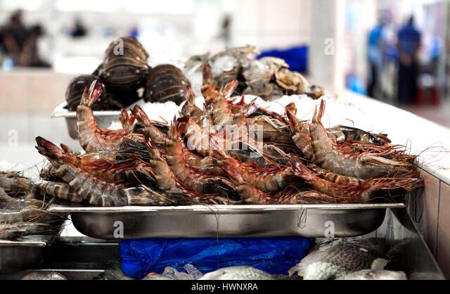 Fish Market of Abu Dhabi in The United Arab Emirates. - Stock Image