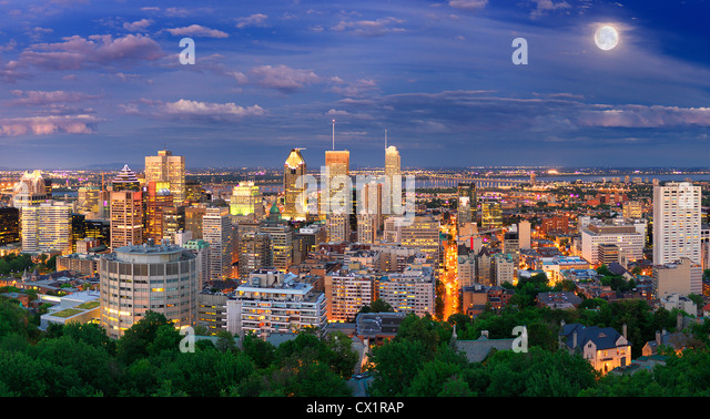 Montreal View at Night From Mount Royal Lookout - Stock Image