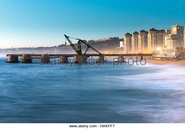 View of Muelle Vergara in Vina del Mar, Valparaiso Region, Chile - Stock Image