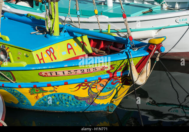 Mediterranean Fishing boats at Sanary-Sur-Mer , Promenade,  Cote d Azur, France - Stock Image