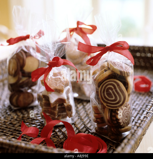 Christmas chocolate biscuits - Stock Image