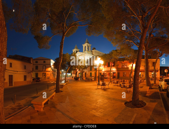Placa San Jose, square, S Alqueria Blanca, Mallorca, Balearic Islands, Spain, Europe - Stock Image