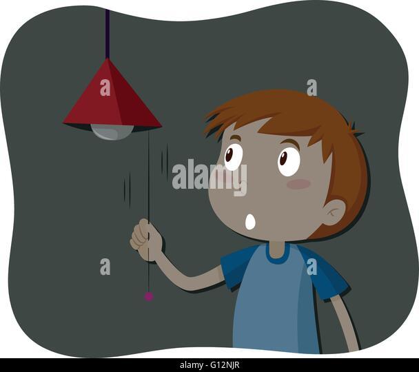 Boy Turning Off The Light Illustration
