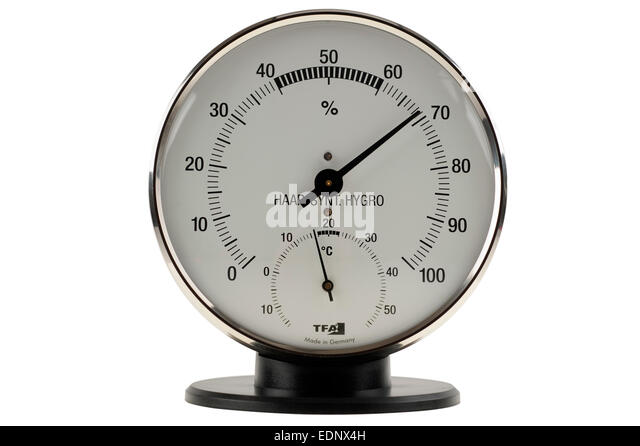 High humidity shown on a hygrometer dial - Stock Image