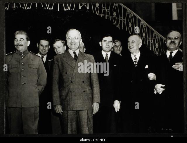 U.S. President Harry S. Truman and Soviet Leader Joseph Stalin Attending Potsdam Conference, Germany, July 18, 1945 - Stock Image