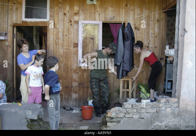 Abkhazian refugees living in Zugdidi (Republic of Georgia) - Stock Image