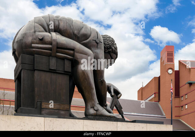 Eduardo Paolozzi's statue 'Newton' outside the British Library, London, England, UK - Stock Image