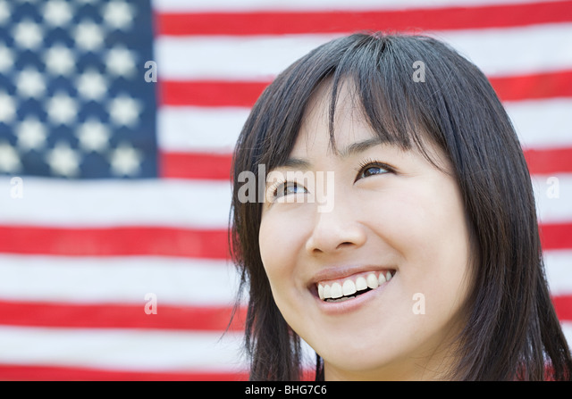 Woman and american flag - Stock-Bilder