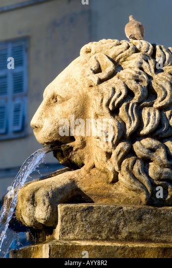fountain Marechal Foch square Ajaccio Corsica France - Stock Image