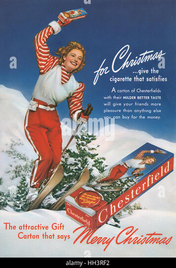 1940 U.S. Christmas advertisement for Chesterfield Cigarettes - Stock Image
