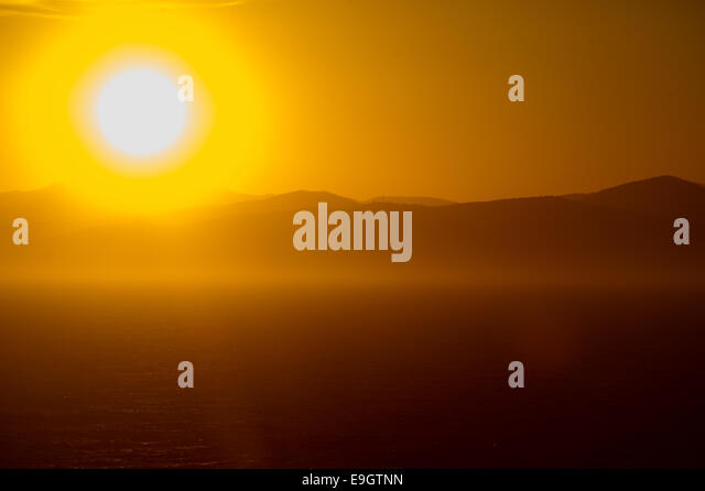 Sunset over the Mediterranean Sea near Cannes, France - Stock Image
