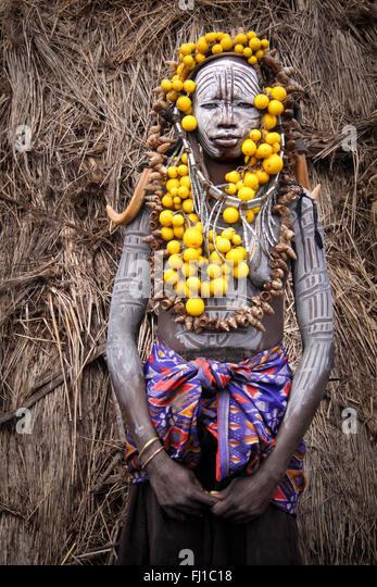 Portrait of a Mursi tribe women in Omo valley, Ethiopia - Stock Image