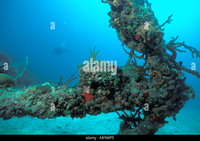 Underwater old coral encrusted anchor horizontal upright classic symbol - Stock Image