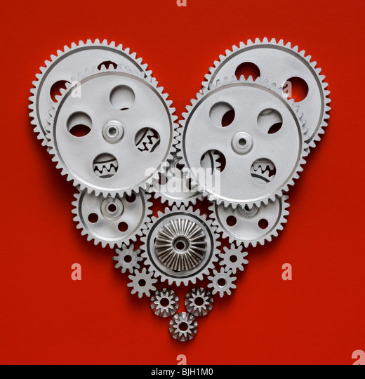 heart made out of gears - Stock Image