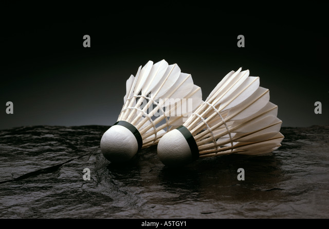 Shuttlecocks on Slate - Stock Image