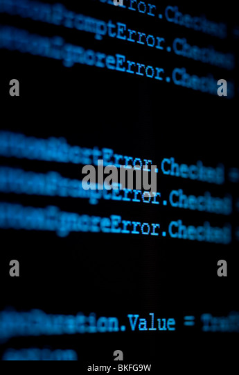 computer monitor showing code zooming in on the word error - Stock Image