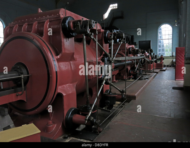 Red Winding Gear engine at Astley Pit, Astley Green, Tyldesley,  Manchester, Lancashire, UK M29 7JB - Stock Image