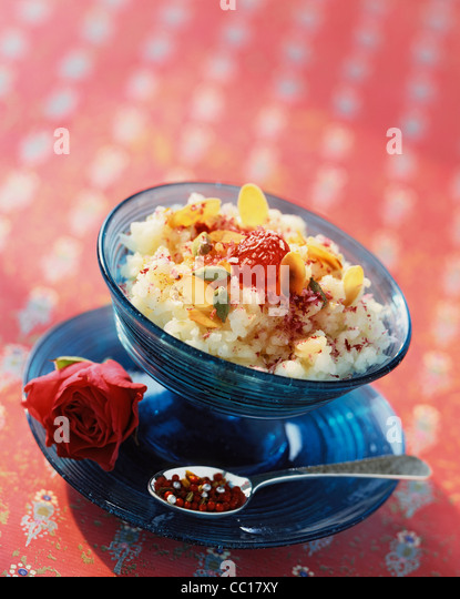 Rice pudding with sweet spices - Stock Image