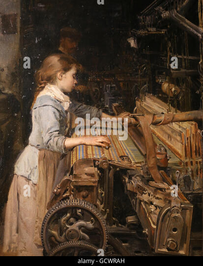 The working girl by Joan Planella, 1885. Museum of the History of Catalonia, Barcelona. Spain. - Stock-Bilder