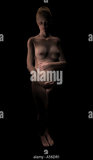 Naked pregnant woman - Stock Image