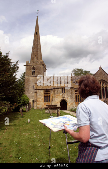 UK England Worcestershire Stanton Church Anne Blane painting in churchyard - Stock Image