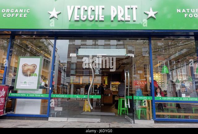 Veggie Pret: vegetarian and vegan branch of Pret-A-Manger in Soho, London - Stock Image