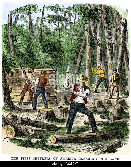 Early settlers of North America clearing land - Stock Image