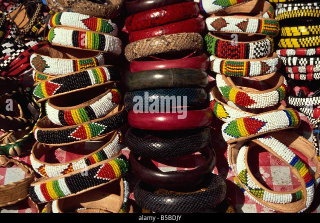 Bracelets and armbands Dakar Senegal West Africa Africa - Stock Image