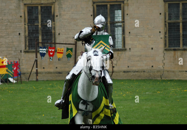 Green Knight on Horseback - Stock Image