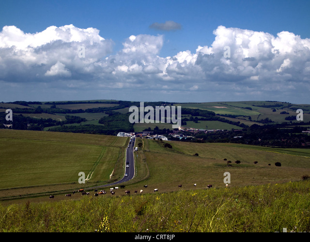 South Downs National Park, near Falmer, Brighton, Sussex - Stock Image