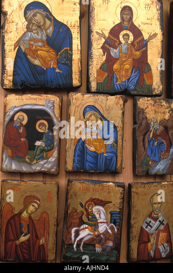 Greece religious icons for sale Rhodes - Stock Image