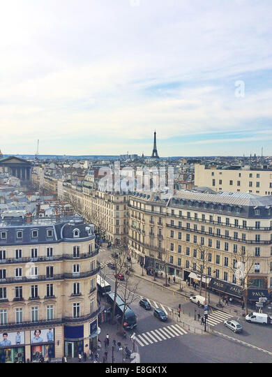 France, Paris, View of City from Galeris Lafayette rooftop - Stock Image