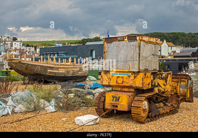 Rusty Old Bulldozer On The Foreshore Hastings UK - Stock Image