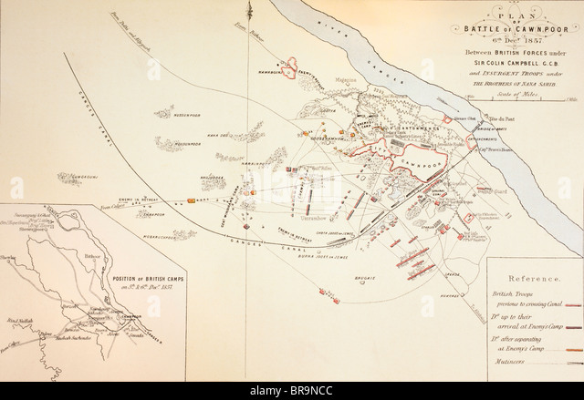 Plan of the Battle of Cawnpore, India,1857. - Stock Image