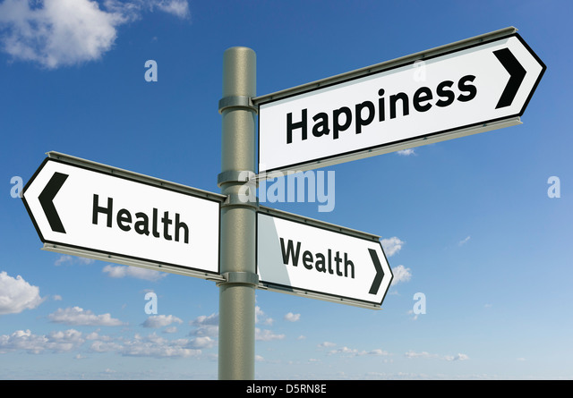 Health, Wealth, Happiness - decisions future direction choice concept - Stock Image
