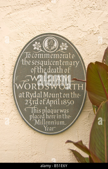 William Wordsworth family home Rydal Mount memorial sign - Stock Image