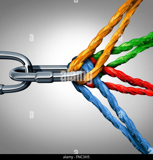 Concept of connection as a connected group symbol with different ropes tied and linked together pulling on a metal - Stock-Bilder
