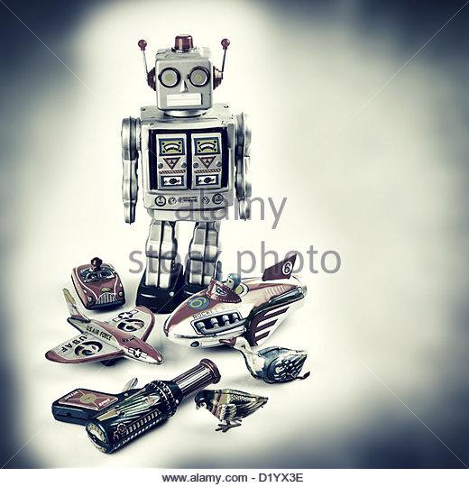vintage tin toys - Stock-Bilder