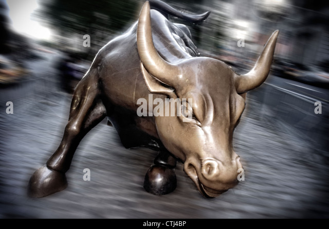 The bull of Wall Street, Financial district, New York City, USA - Stock Image