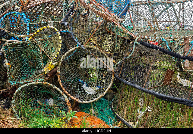 A Tangle Of Lobster Pots On The Foreshore Hastings UK - Stock Image