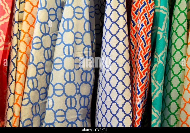 Maine Freeport outlet stores for sale women's tops fabric patterns - Stock Image