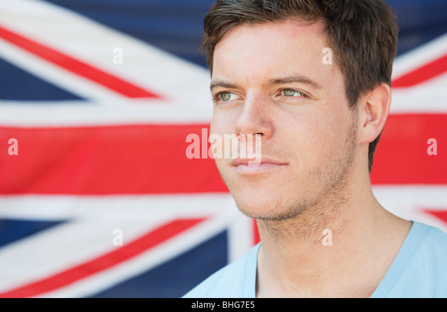 Young man and british flag - Stock Image