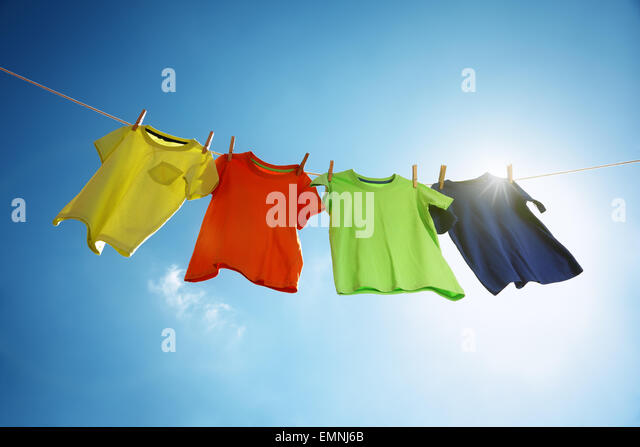 Clothesline and laundry - Stock Image